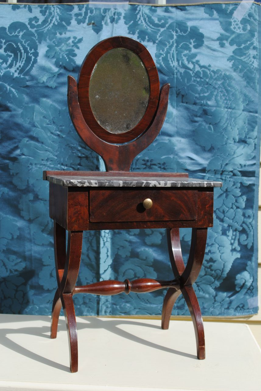 Elegant French Marble Topped Mahogany Dressing Table Circa 1870