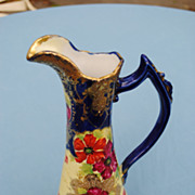 SALE Beautiful Japanese Pitcher With Gold and Cobalt Decoration