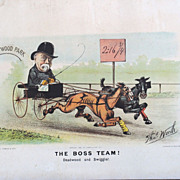 """SALE Currier and Ives 1882 """"The Boss Team"""" by Thomas Worth"""