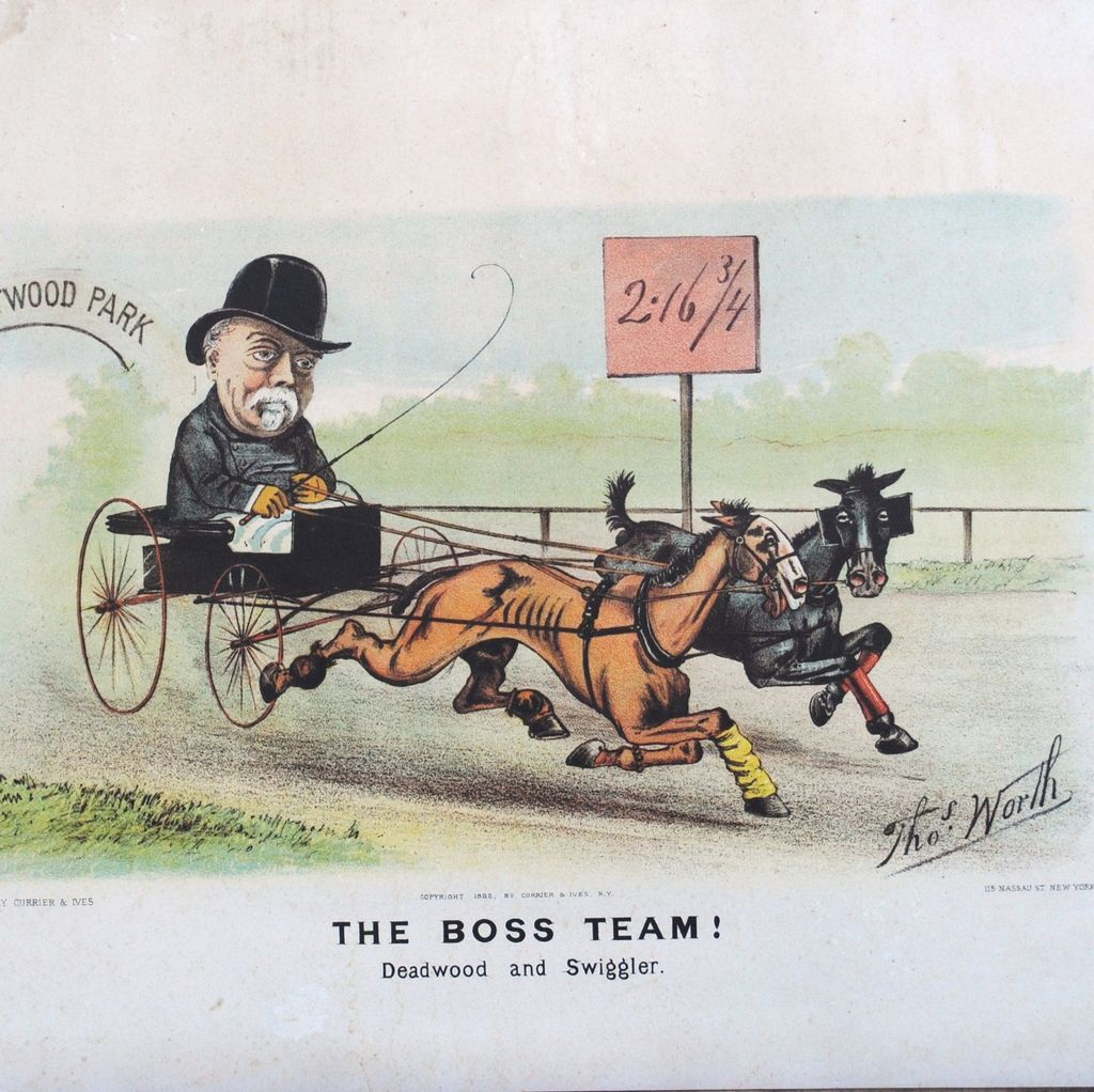 """Currier and Ives 1882 """"The Boss Team"""" by Thomas Worth"""