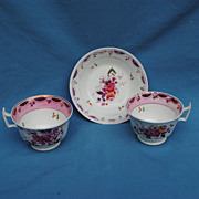 2 Circa 1840 Pink Lustre Cups and 1 Matching Saucer