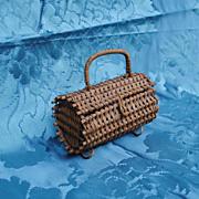 19th c French Bebe Or French Fashion Basket/Purse/Sac Du Voyage