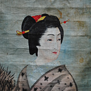 SALE Japanese Hand Painting On Cloth.....Late 19th C.