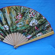 SALE Beautiful Vintage Barkcloth Fan....Outstanding Condition