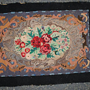 Floral Hooked Rug.....Circa 1890-1910