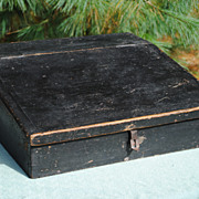 Lap Desk In Original Black Paint....Late 19th c....Dovetailed Construction