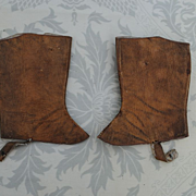 SALE French Factory Jumeau Leather Spats..Size 9