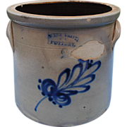 19th c. West Troy Pottery, NY Crock With Blue Leaf Decoration