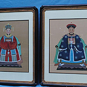 Pair Chinese Paintings On Silk Ch'ing Dynasty Circa 1890-1910