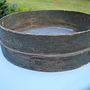 Large 19th c. Sieve In Great Dry Green Paint