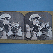 Circa 1890 Stereoscopic View Of Dolls In a Carriage
