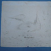 Folk Art Calligraphy of An Eagle 19th c. American