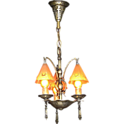 Vintage Arts & Crafts 3 Smoke Bell Vintage Chandelier