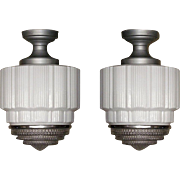 Large Vintage Department Store or Schoolhouse Electric Ceiling Fixtures. 2 available priced ea