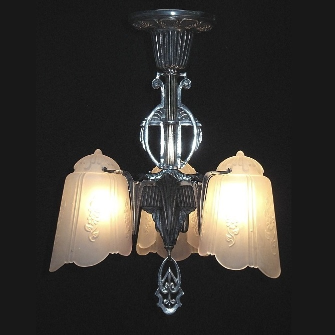 Highly Polished Art Deco 3 Shade Vintage Fixture
