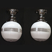 Pair Larger 1930s - 40s Mid Century Globes