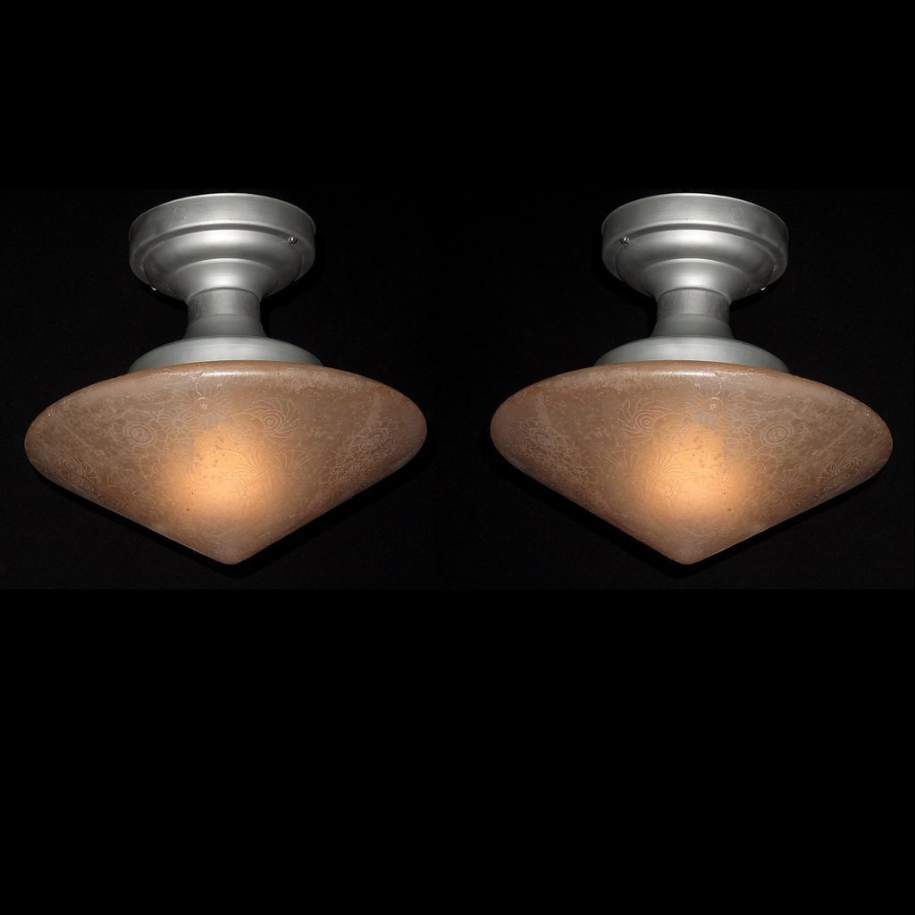 Vintage Deco Design Glue Chip Pyramid Shade. 2 available priced each .