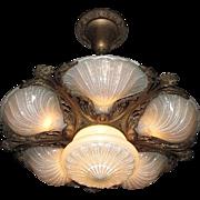 Very Rare 6 Light Slip Shade Ceiling Fixture in Original Condition