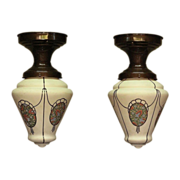 2 Matching Custard Glass Teardrop Globes with Chintz Medallians Priced Each
