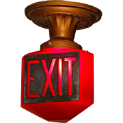 1920s Ruby Red Exit Sign with Raised Letters