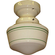 Wholesome 1930s Milk Glass Fixture with Green Stripes