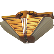 1930s Mid Century Two Bulb Flush Mount Fixture