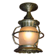Vintage Flush Mount Porch Light Fixture, Original Glass