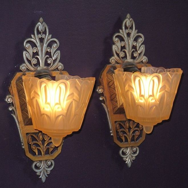 Vintage Lincoln Slip Shade Wall Sconces   Several pairs available