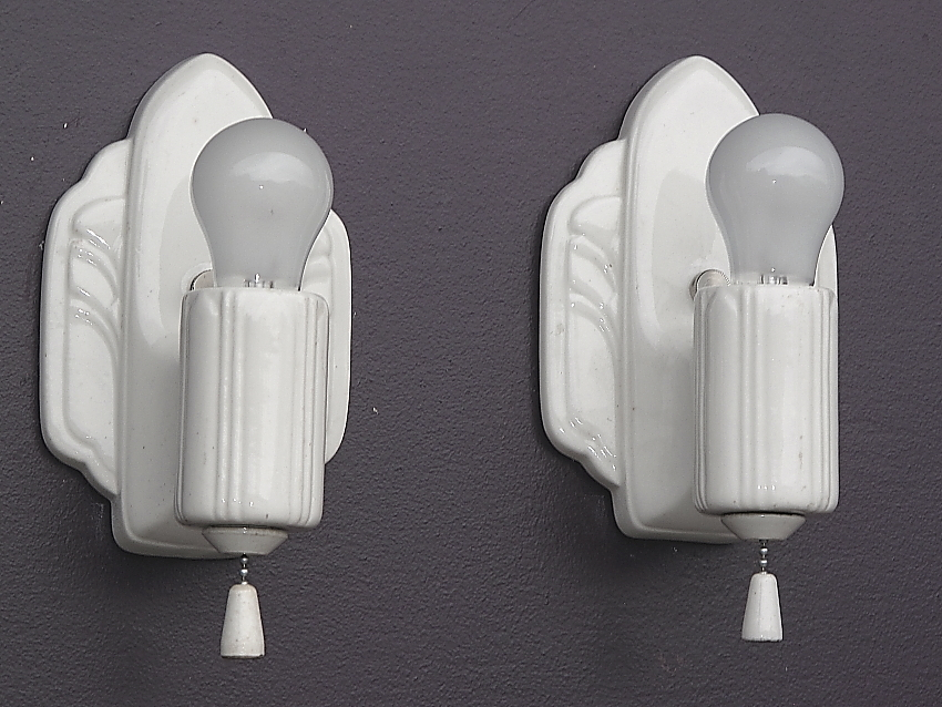 Pair Antique White Porcelain Kitchen Bathroom Art Deco Wall Sconces. 2 from vintagelights-online ...