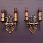 Pair Revival Style Bronze Sconces