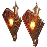 Ultra Deco 1930s Pair Bronze Slip Shade Wall Sconces 2 pair available priced per pair