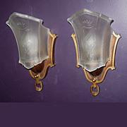 Pair Vintage Slip Shade Wall Sconces