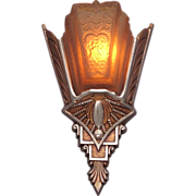 ONE ONLY Spectacular Vintage Art Deco Slip Shade Sconce