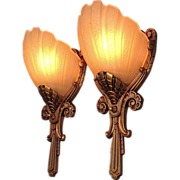 Single Only Regal Pair Deco Slip Shade Wall Sconces Vintage 1930s