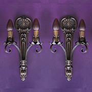 SOLD Vintage Pair Signed Moe Bridges Two Arm Classic Vintage Wall Sconce; 4 pair available, pr