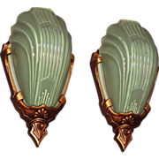 Pair Vintage Sconces with Rare Green Slip Shades