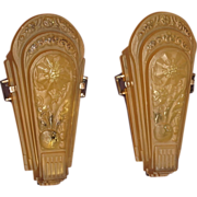 Art Deco Era Slip Shade Wall Sconces with Nickel Plated Back Plates