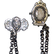 SALE Vintage Pin Clip Cameo Chain for Watch