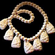 SALE Vintage White Molded Glass Festoon Necklace