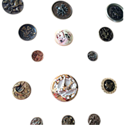 SOLD 20 Beautiful Victorian Bird Buttons on backing Metal Glass Cut Steel - Red Tag Sale Item