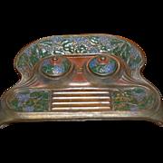 SALE Vintage Art Nouveau Colorful Ornate Brass Ink Well original Inserts