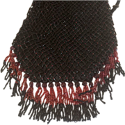 SALE Old Vintage Lovely Black and Red Beaded Bag