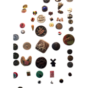 SOLD 78 Vintage Old Button Collection on Cardboard Cut Steel, Shell, Metal, Glass