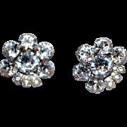 SALE Signed Eisenberg Rhinestone Earrings Clips Clear