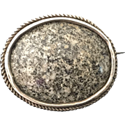 SALE Handcrafted Pin Sterling Silver with Stone Vintage
