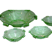 Superb Vintage Art Deco Stolzle Glass Hermanova Hut Fruit Bowl Set