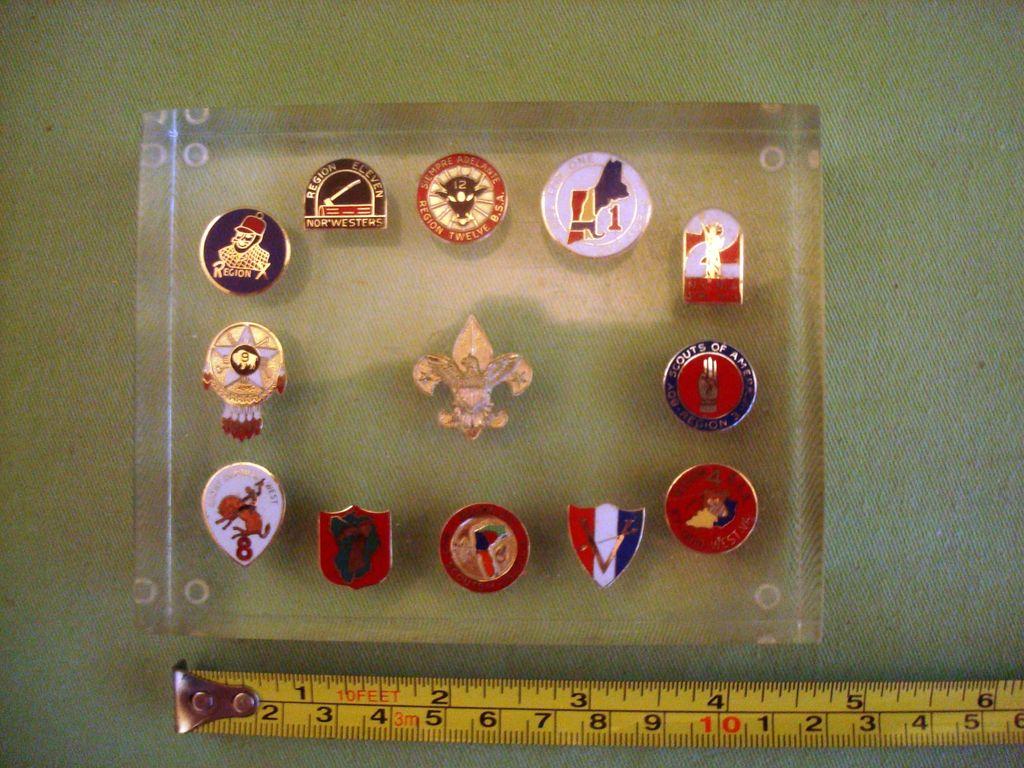Vintage BSA Boy Scout 12 Regions Lucite Paperweight