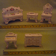 Vintage Porcelain China Miniature Living Room Suite/ Ring Boxes