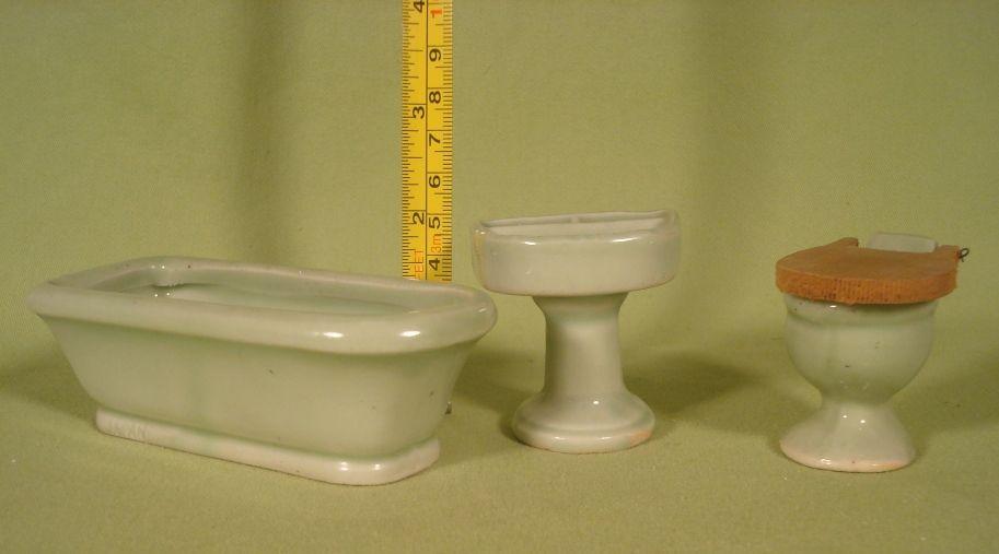 Vintage Miniature Jadite Green Ceramic Porcelain Bathroom Set