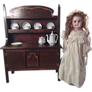 Vintage Doll Miniature Welsh Cupboard with Antique China